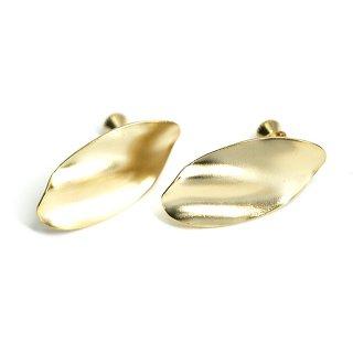 【1ペア】マットゴールドスタイリッシュな曲線オーバル形ネジバネ&カン付きイヤリングパーツ