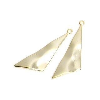 【2個入り】表面曲線の三角形マットゴールドチャーム、パーツ