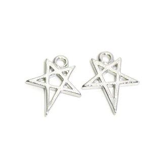 【2個入り】繊細な星STARモチーフの光沢シルバーチャーム、パーツ