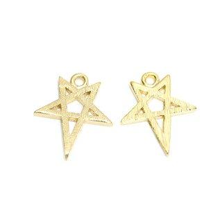 【2個入り】繊細な星STARモチーフのマットゴールドチャーム、パーツ