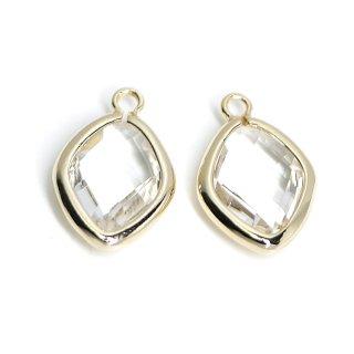 【2個入り】Crystalカラーガラス16mmダイヤモンド形ゴールドチャーム
