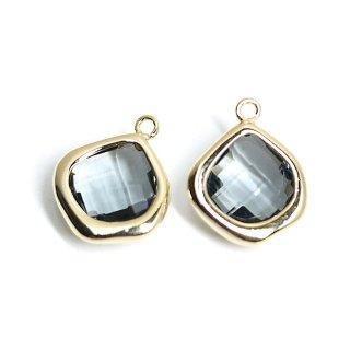 【2個入り】Black Diamondカラーガラス15mmマロン形ゴールドチャーム