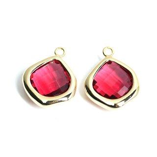 【2個入り】Rubyカラーガラス15mmマロン形ゴールドチャーム