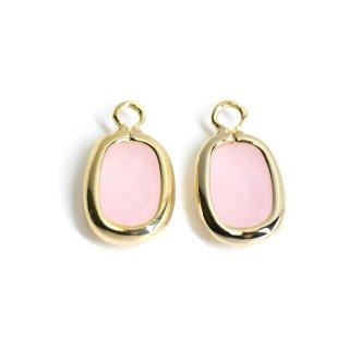 【2個入り】プチスクエア形Rose Pinkカラーガラス12mmゴールドチャーム