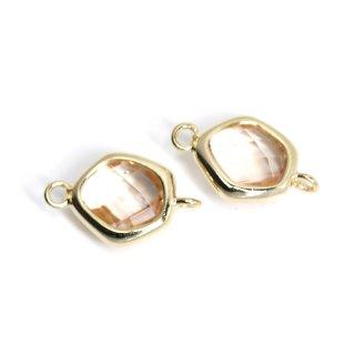 【2個入り】プチ歪み形Peachカラーガラスのゴールドコネクター、チャーム