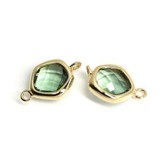 【2個入り】プチ歪み形Green Opalカラーガラスのゴールドコネクター、チャーム