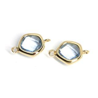 【2個入り】プチ歪み形Light Sapphireカラーガラスのゴールドコネクター、チャーム