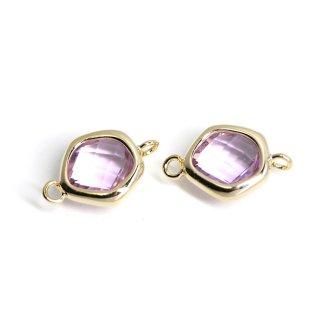 【2個入り】プチ歪み形Lavenderカラーガラスのゴールドコネクター、チャーム