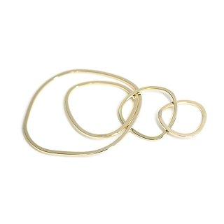 【2個入り】大ぶり約67mm不規則な五つ円形光沢ゴールドチャーム、パーツ