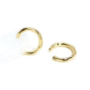 【1個】凹凸ある約2mmシンプル光沢ゴールドイヤーカフ、パーツ