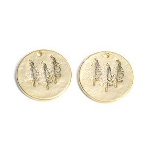 【2個入り】コイン状に刻まれたTreeモチーフのマットゴールドペンダント、チャーム