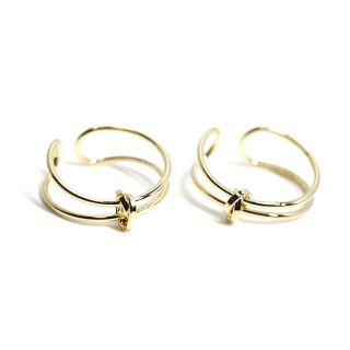 【1個】2way 華奢な結びモチーフの光沢ゴールドイヤーカフ、リング