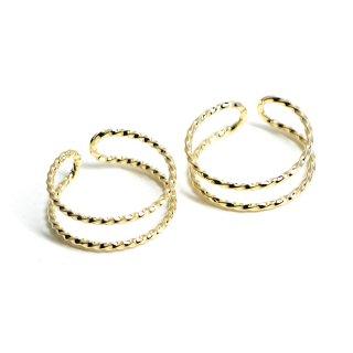 【1個】2way 軽量化真鍮製ツイスト円形光沢ゴールドイヤーカフ、リング