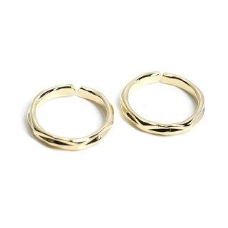 【1個】2way 凹凸あるサークル形光沢ゴールドリング、イヤーカフ