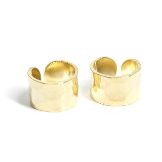 【1個】凹凸ある約7mmシンプル光沢ゴールドイヤーカフ、パーツ