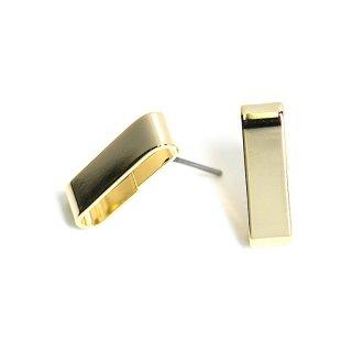 【2ペア分】チタン芯!17mm長方形クリップ!光沢ゴールドピアス、パーツ