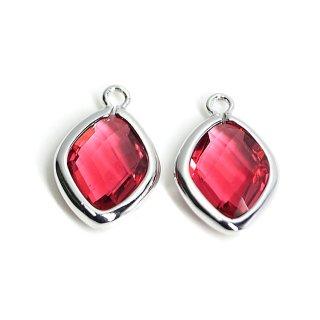 【2個入り】Rubyカラーガラス16mmダイヤモンド形シルバーチャーム
