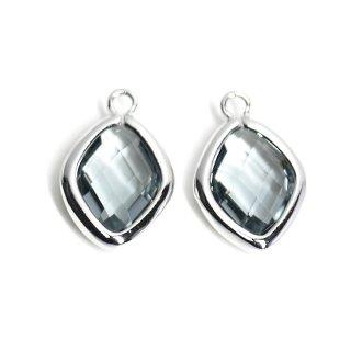 【2個入り】Black Diamondカラーガラス16mmダイヤモンド形シルバーチャーム