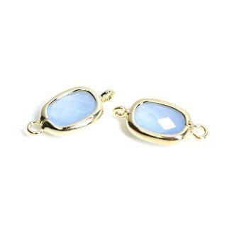 【2個入り】両カン!プチスクエア形Blue Opalカラーガラス12mmゴールドコネクター