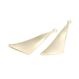【4個入り】つるんとした曲線のシンプル三角形マットゴールドチャーム、パーツ