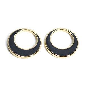 【4個入り】18mm ゴールド淵のブラックカラー円形ゴールドチャーム