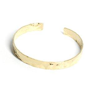 【1個】ハンドメイド感!6mm凹凸あるゴールドバングル、ブレスレット