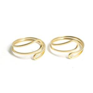 【2個入り】Circular Twist マットゴールドフリーリング、指輪