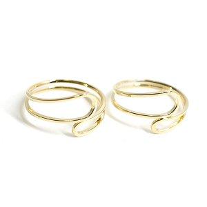 【2個入り】Circular Twist 光沢ゴールドフリーリング、指輪