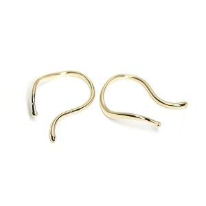 【1個】シンプルな曲線の光沢ゴールドイヤーカフ、イヤーフック