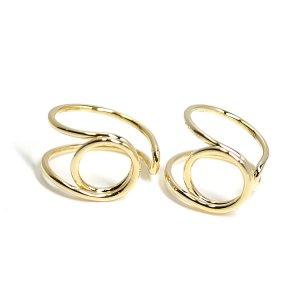 【2個入り】存在感ある円形モチーフのゴールドフリーリング、指輪