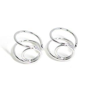 【2個入り】存在感ある円形モチーフのシルバーフリーリング、指輪