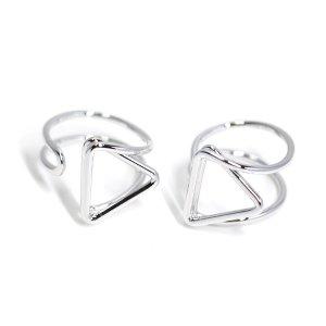 【2個入り】存在感ある三角形モチーフのシルバーフリーリング、指輪