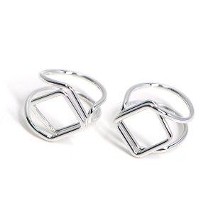 【2個入り】存在感ある四角形モチーフのシルバーフリーリング、指輪