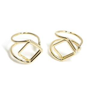【2個入り】存在感ある四角形モチーフのゴールドフリーリング、指輪