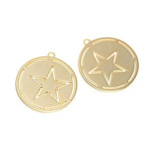 【2個入り】Coin STARモチーフマットゴールドチャーム、パーツ