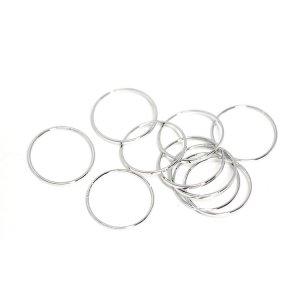 【10個入り】約15mm / 約0.6mm サークル, 円形シルバーフレーム、チャーム