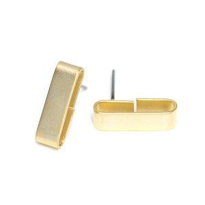 【2ペア分】チタン芯!17mm長方形クリップ!マットゴールドピアス、パーツ