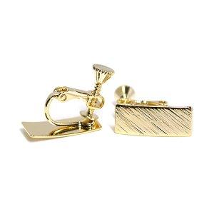 【1ペア】質感ある約7*16mm長方形光沢ゴールドネジバネイヤリングパーツ