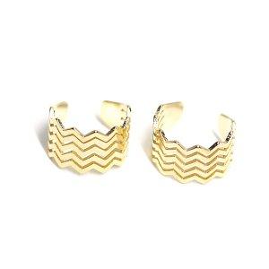【1個】波のようなウェイブの光沢ゴールドイヤーカフ、軟骨ピアス