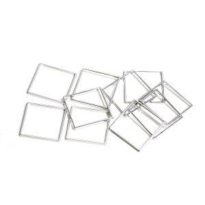 【10個入り】約15mm / 約0.6mm 正方形,スクエアシルバーフレーム、チャーム