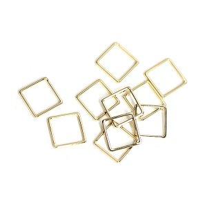 【10個入り】約8mm / 約0.6mm 正方形,スクエアゴールドフレーム、チャーム