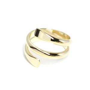 【2個入り】包むような二連ツイスト光沢ゴールドフリーリング、指輪