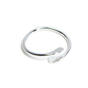 【2個入り】包むような二連ツイスト光沢シルバーフリーリング、指輪