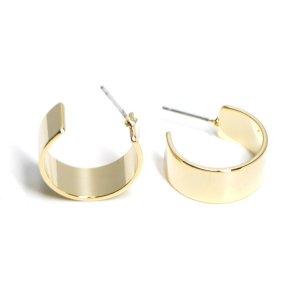 【1ペア】チタン芯!シンプルな約18mm光沢ゴールドフープピアス、パーツ