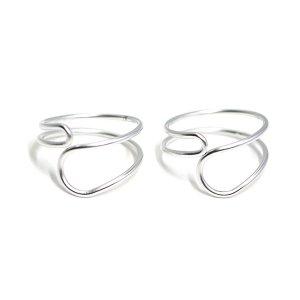 【2個入り】Crossing Circleマットシルバーフリーリング、指輪