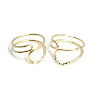 【2個入り】Crossing Circleマットゴールドフリーリング、指輪