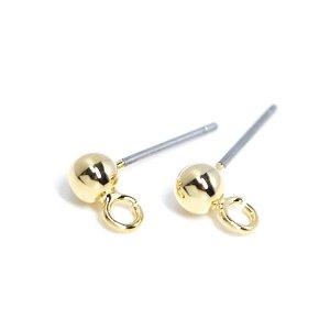 【6個入り】4mm開閉式タテカン付きゴールドチタン芯ピアス、パーツ