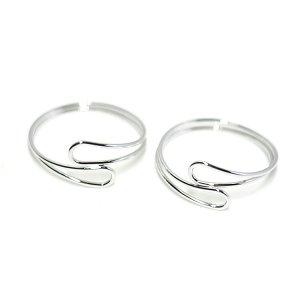 【2個入り】華奢なOpen Dropツイスト光沢シルバーフリーリング、指輪