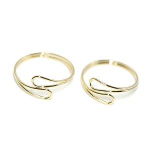 【2個入り】華奢なOpen Dropツイスト光沢ゴールドフリーリング、指輪