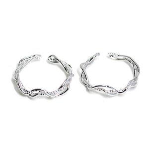 【2個入り】曲線の絡み合いの光沢シルバーフリーリング、指輪
